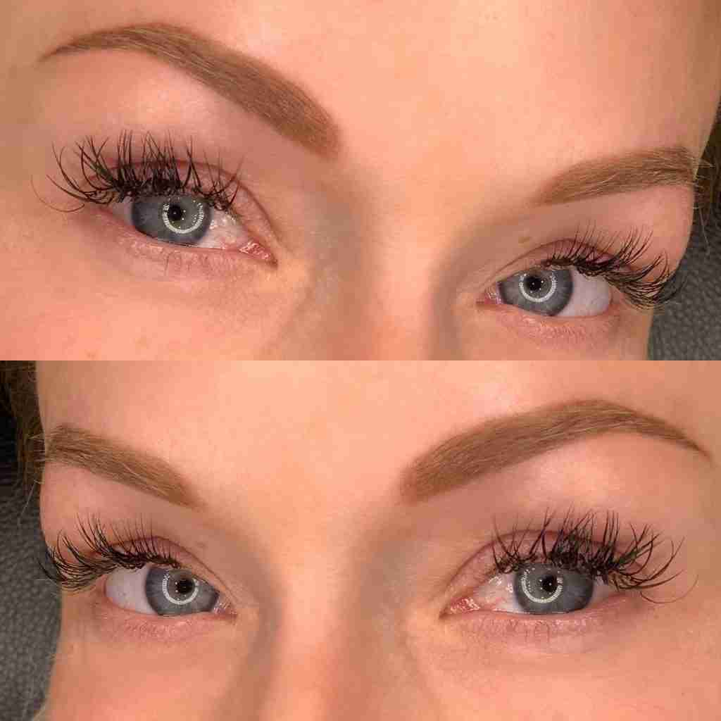 natural microblading for blue eyes