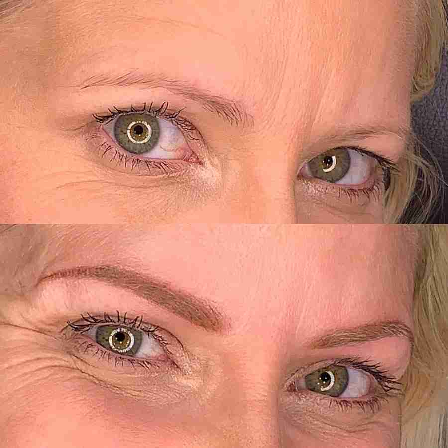 eyebrow before and after microblading