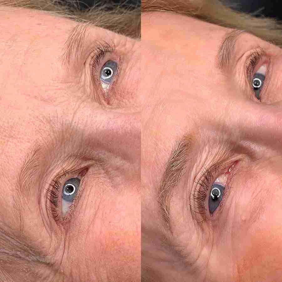 mature skin before and after microblading tattoo