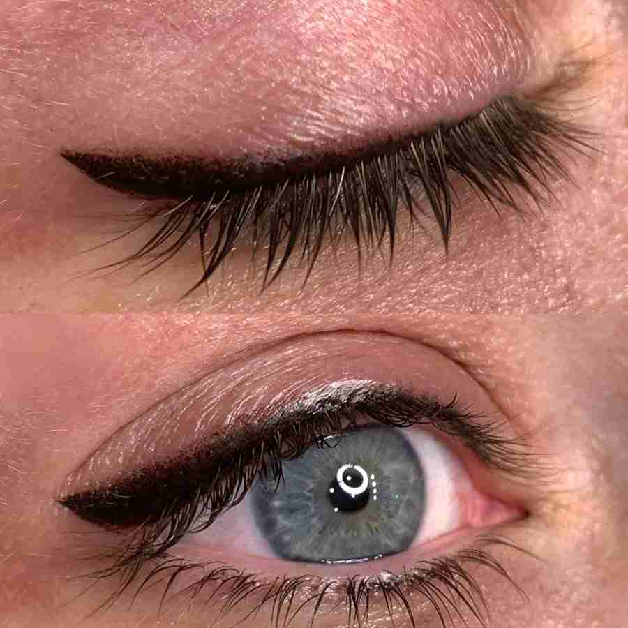 permanent eyeliner tattoo with smokey wing