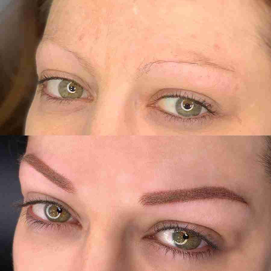 Tattooed eyebrows for thin brows