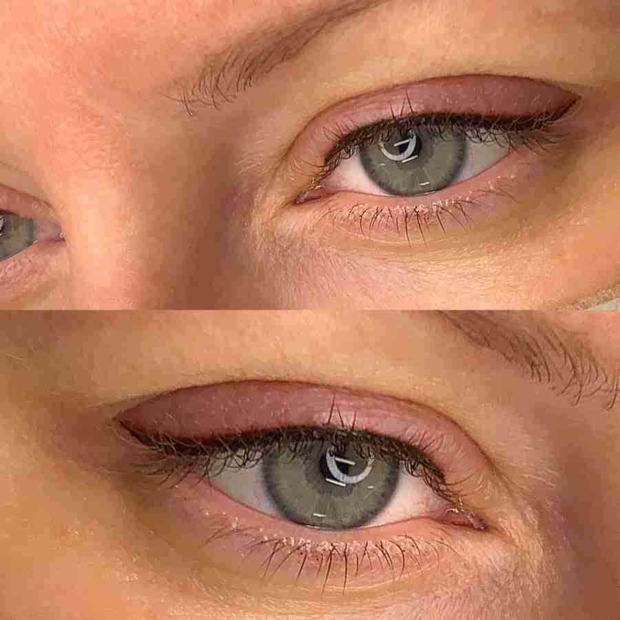 permanent makeup tattooed eyeliner with wing